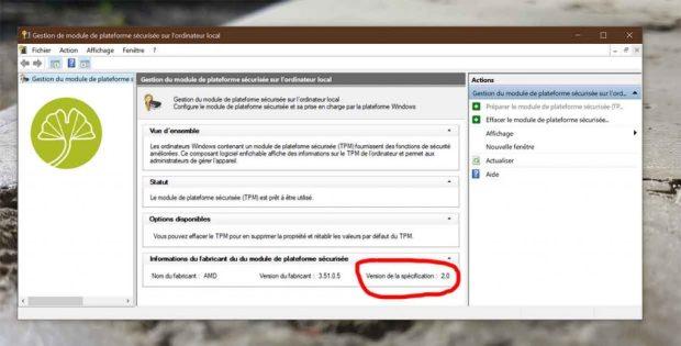 Windows 10 et la fonction TPM