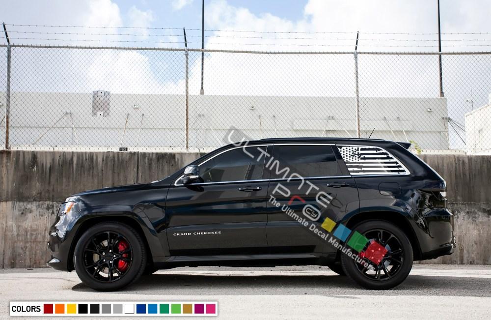 medium resolution of destorder us flag decals rear window decal sticker vinyl american flag kit compatible with jeep grand cherokee 2011 2017