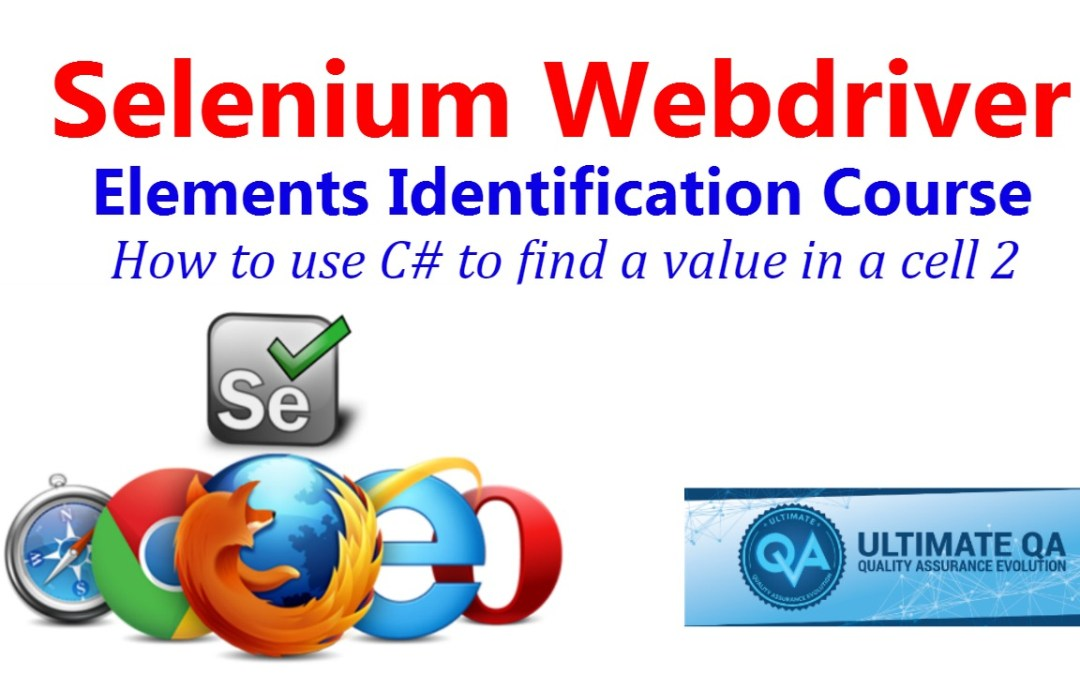 Selenium Tutorial – Element Identification – How To Use C# To Find A Value In A Cell 2