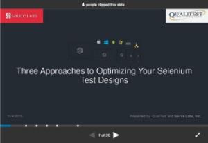 selenium webdriver resources -slides/presentations -three approaches to optimizing your selenium test design