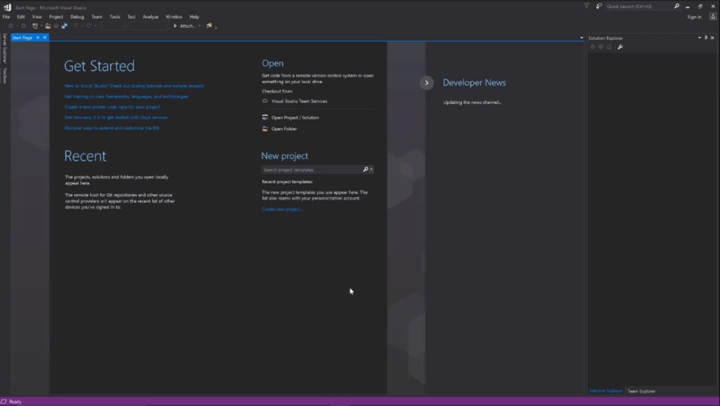 Visual Studio community edition dark theme fully installed