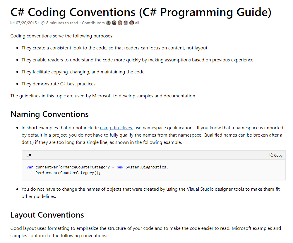 Microsoft MSDN coding conventions