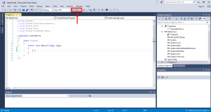 locating start button in visual studio 2017