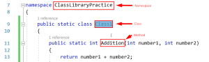 Visual studio namespace, class and class method