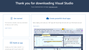 thank you page visual studio download