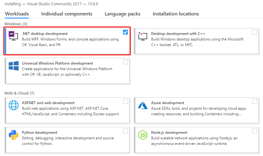 visual studio .net desktop development installer