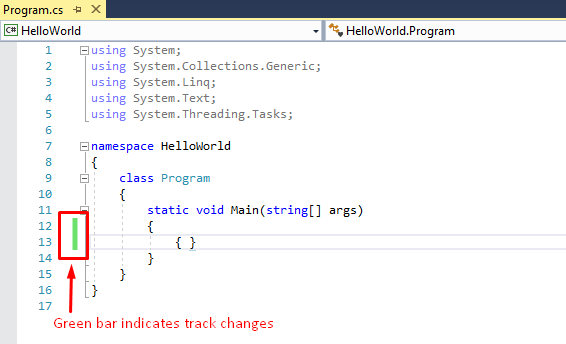 track changes shown by green bar in visual studio