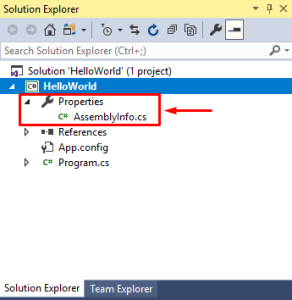 visual studio properties inside solution explorer