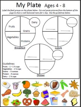 5 My Plate Worksheets
