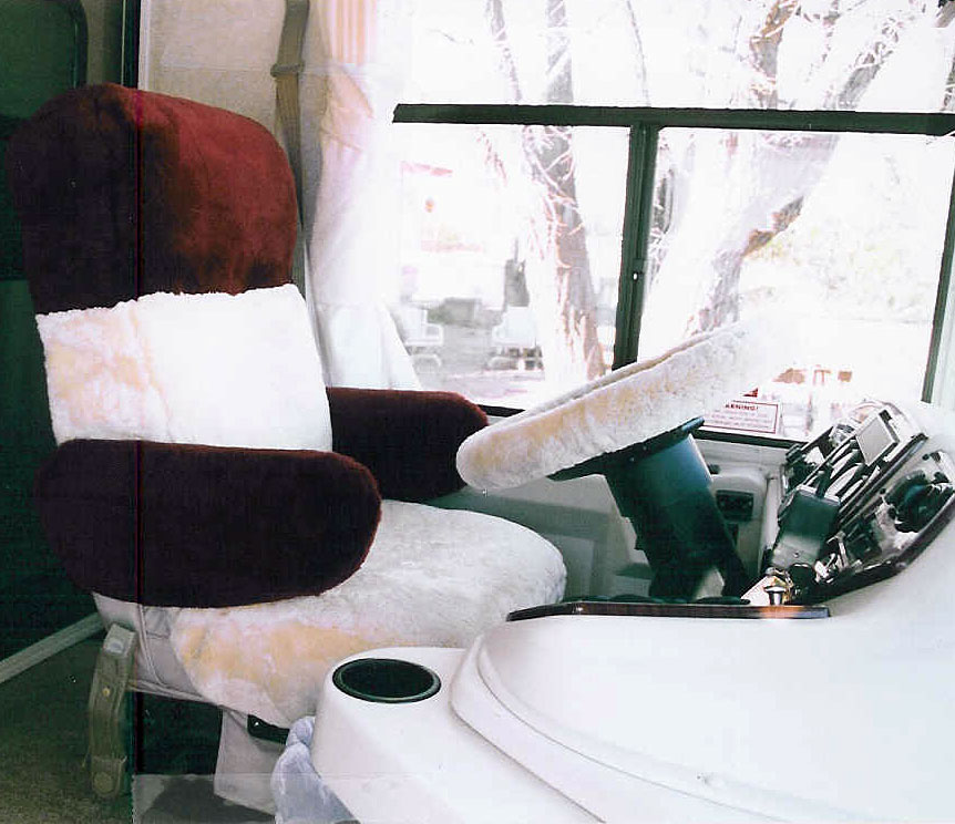 motorhome captain chair seat covers steel easy with cloth sheepskin rv bus custom tailor made ultimate