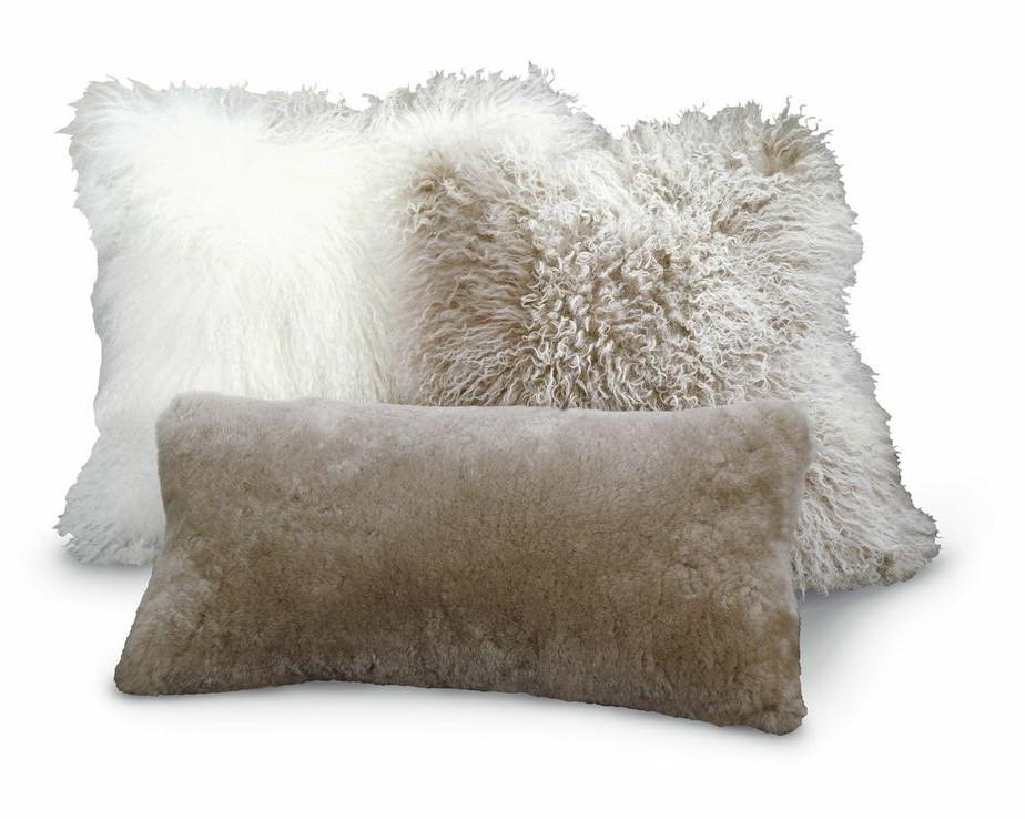 Tibetan Lambskin Throw Pillows Curly Fur 16 Cushions