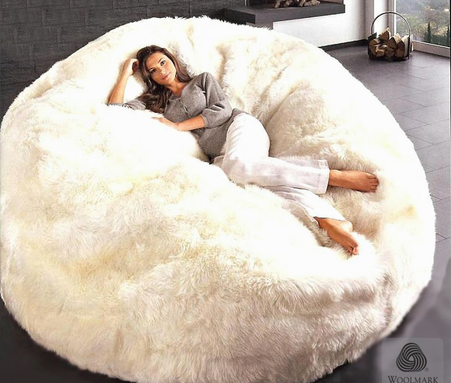 Giant Sheepskin Bean Bag Chair Large Jumbo Filled