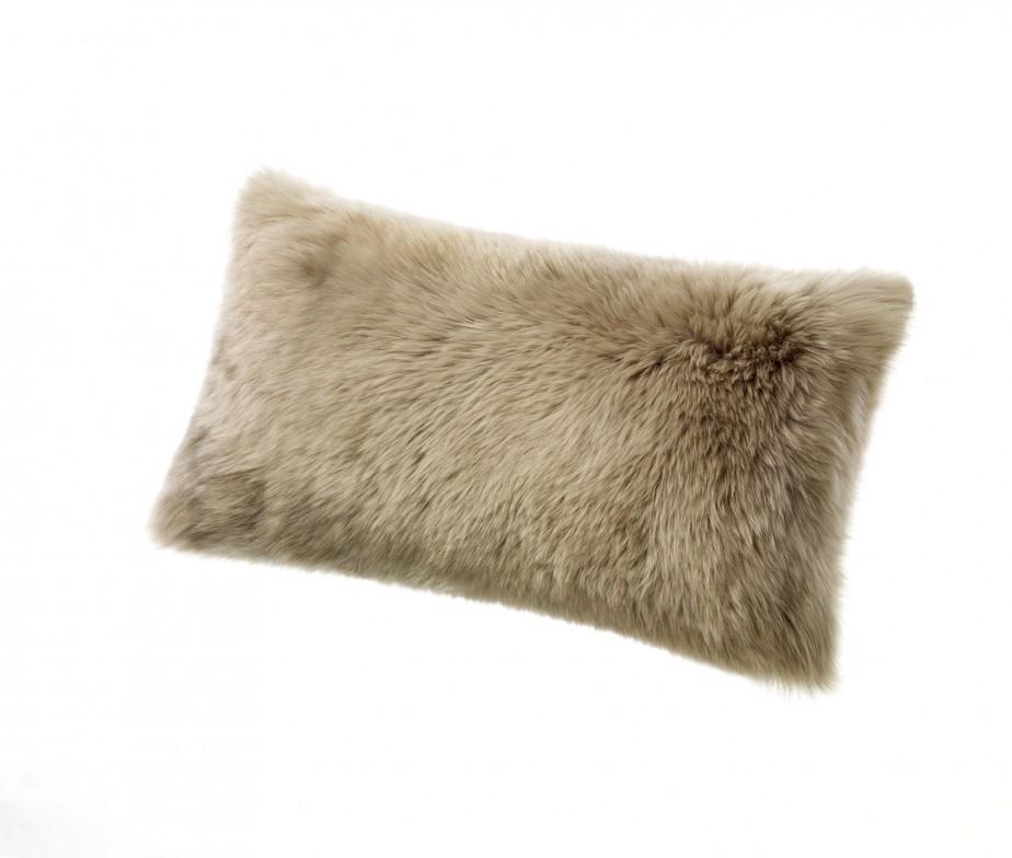 Sheepskin Pillows 11 x 22 Fur Cushions Vole Gray