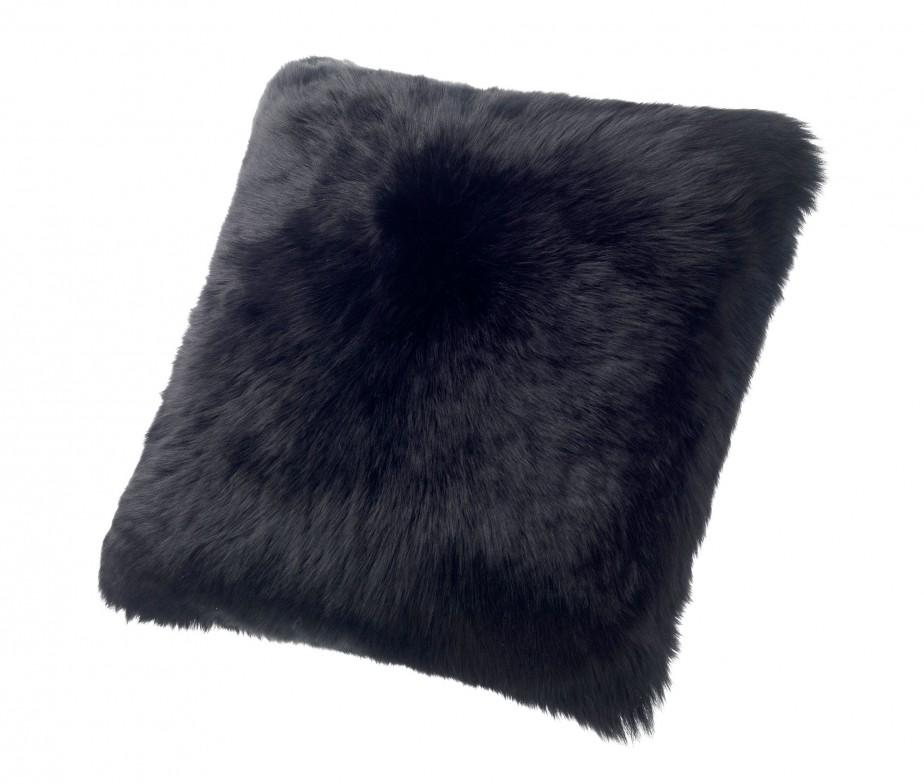 Sheepskin Pillows Large 24 Fur Cushions Black