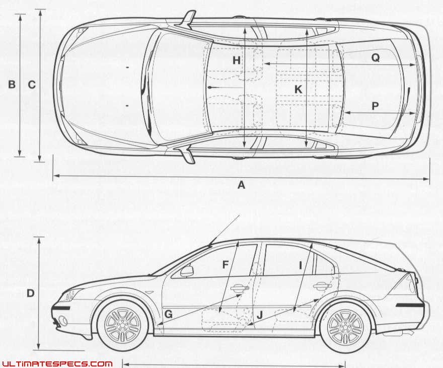 Ford Mondeo Dimensions. the vector drawing ford mondeo