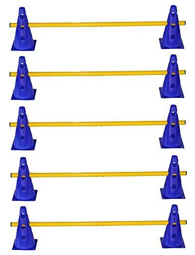 Agility Dog Sport  Set di 5 ostacoli  10x coni multiuso 23 cm blu  5x aste 100 cm giallo