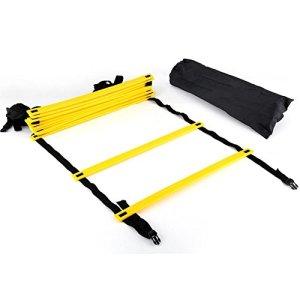 GLOGLOW 6m Agility Ladder Attrezzatura per lallenamento della velocit ad Alta intensit con 12 gradini Regolabili Borsa da Trasporto Nera Ideale per Calcio Calcio Fitness Allenamento dei Piedi