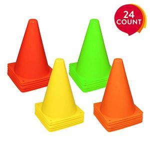 REEHUT Set Coni Sport da 24 Pezzi Coni Allenamento con Materiale Ambientale Non Deforma AntiUrto per attivit Gioco Calcio Pallavolo ECC  4 Colori