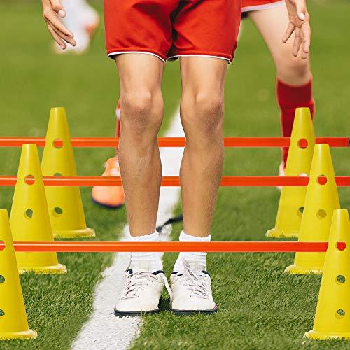 18 Pezzi  Set di Ostacoli per Allenamento Agilit Regolabile 12 Coni Durevoli e 6 Bastoncini  per i Bambini Giochi e Sport allAperto Calcio  Addestramento del Cane con Borsa per Il Trasporto
