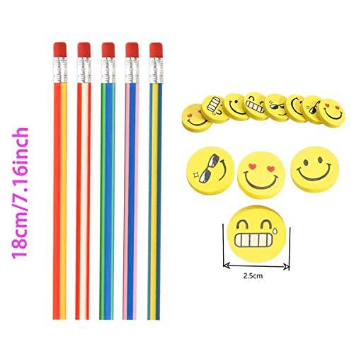 71 Pcs Set sacchetto del partito dei capretti Annhao matite elastiche e Emoji Smile Gomme con piega magica Giocattoli Divertimento scolastico per i Riempitivi del Sacchetto del Partito dei Bambini