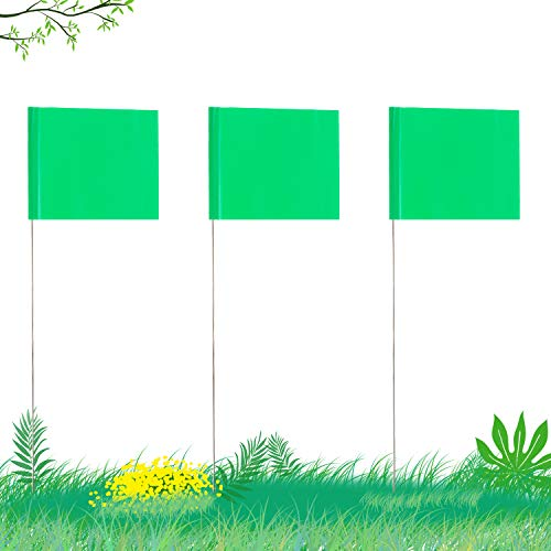 AIEX 51x76 cm  42 Pezzi  Marcatura Bandiere con Asta in Acciaio da 35cm Vinile Bandiera del Palo per Uso Industriale Servizi Pubblici Sotterranei Architettura del Paesaggio  Verde