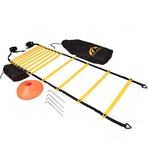 airtrack matte Set Allenamento velocit Calcio Set di Allenamento AgilePremium Agility Ladder e ConiParacadute da Corsa di Resistenza Coni di SportCintura di Allenamento Bracciale Sportivo