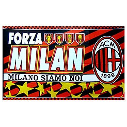 Bandiera con Stemma Gigante AC Milan Serie A 145 cm x 95 cm e 100 Poliestere