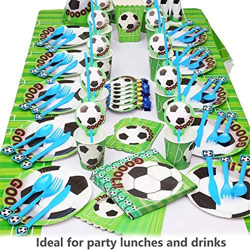 BETOY Set per Feste di Calcio 106PCS orniture per Feste di Calcio Compleanno Party Tableware Kit Festa in Tavola per Piatti di Carta Tovaglioli Cannucce Striscioni Coltelli Forchette e Cucchiai