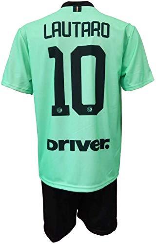 Completo LAUTARO Martinez Inter Ufficiale Away Verde 201920 Bambino Uomo Adulto Maglia SECONDA  Pantaloncini Pantaloncino Completino 10 Away 10 Anni