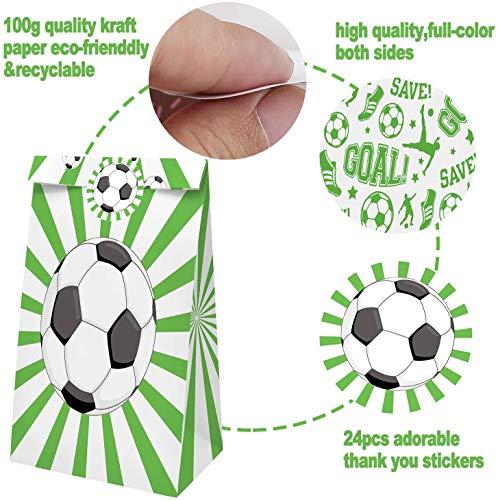 Confezione da 24 Sacchetti di Caramelle per bomboniere con Adesivi Calcio r Goodie Gift Treat Bags Calcio Forniture per Feste di Compleanno a Tema