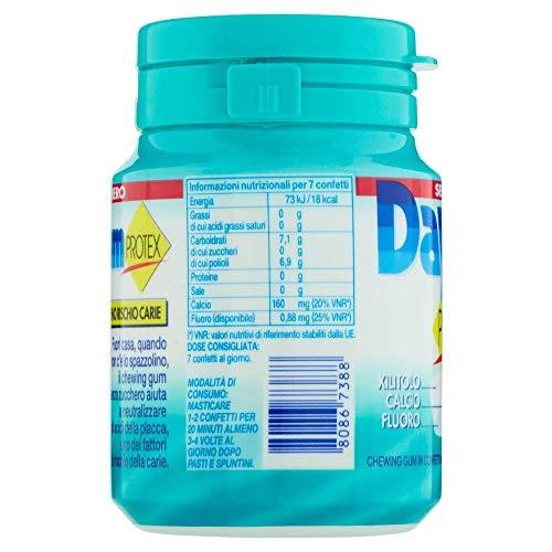 Daygum Protex Gomme da Masticare Senza Zucchero Barattolo Chewing Gum Gusto Menta Confezione da 6 Mini Barattoli 46 Gomme Ognuno