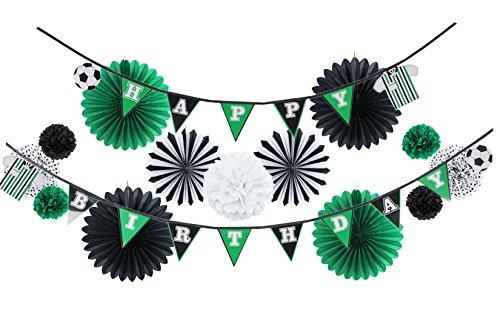 Easy Joy Kit Festa Calcio Decorazione per Compleanno Tema Euro 2020 Calcio Ghirlanda Happy Birthday Nero Verde Ragazzo 14 Pezzi