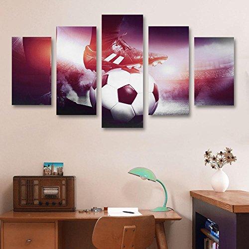 Fdit tela pittura murale calcio e scarpe di tela pittura 5 pannelli stampato immagine Wall Art Home Office decorazione della camera da letto small