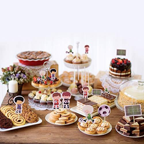 HANGNUO  Decorazioni per cupcake e cupcake con giocatore calcio gol per bambini feste di compleanno baby shower feste a tema calcio 72 pezzi