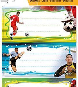 HERMA 5588Etichette Nome Quaderno per la scuola motivo Calcio formato 76x 35cm con brillantini contenuto confezione 6Etichette