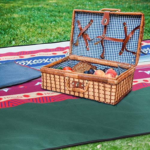 Homfa Coperta per Picnic 200 x 200 cm Tappeto Impermeabile Grande Pieghevole Portable Tre Strati Picnic Stuoie per Spiaggia Campeggio Giardino GialloVerde