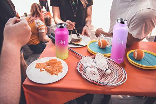HoneyHolly Bottiglia dAcqua in Acciaio Inox 500ml Isolamento Sottovuoto a Doppia Bottiglia per Acqua Senza Bpa Borraccia Sportiva per Bambino Scuola Palestra Sport