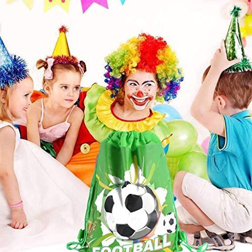 INTVN 12 Packs Sacchetti di Calcio Borse con Coulisse Compleanno Regalo Sacchetti per Feste Compleanno Bomboniere Borse per Calcio Festa a Tema