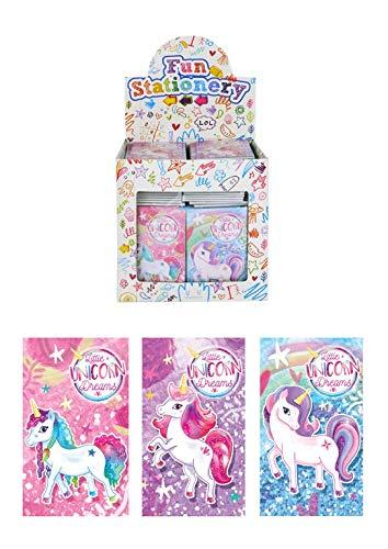 KINPARTY 6 Mini Quaderni di Calcio 6 Mini Quaderni di Unicorno e 12 Scatole di Pastelli Colorati  Ideali per Regali di Compleanno Feste Feste Feste Compleanno Pignate e Regali