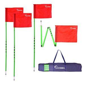 Kosma Set di 4 bandierine angolari pieghevoli  Bastone pieghevole per allenamento calcio  Dimensioni 5 m x 25 mm  Flourecent Green Pole con punta in metallo e bandiera rossa