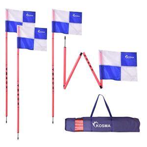 Kosma  Set di 4 bandierine angolari pieghevoli per allenamento di calcio dimensioni 5 m x 25 mm palo rosa con punta in metallo e bandiere quadranti colore BluBianco
