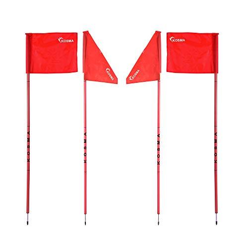 Kosma Set di 4 bandierine angolari pieghevoli  Paletto pieghevole per allenamento calcio  Dimensioni 5 m x 25 mm  asta rosa con punta in metallo e bandiera rossa  in borsa per il trasporto