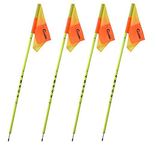 Kosma  Set di 4 bandierine angolari pieghevoli per allenamento di calcio dimensioni 5 m x 25 mm palo giallo con punta in metallo e bandierine quadranti colore GialloArancione