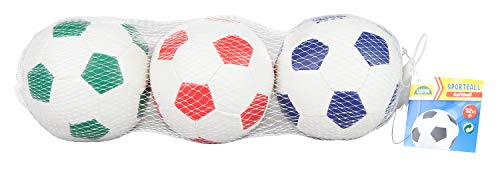 LenaSet di 3 palle da calcio sport e softair di colore bianco blu verde o rosso 3 10 cm per interni ed esterni morbide palline sportive per bambini a partire da 12 mesi 62163