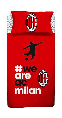 Milan Completo Lenzuola Letto Singolo 1 Una Piazza Ufficiale AC Rosso Nero 100 Cotone