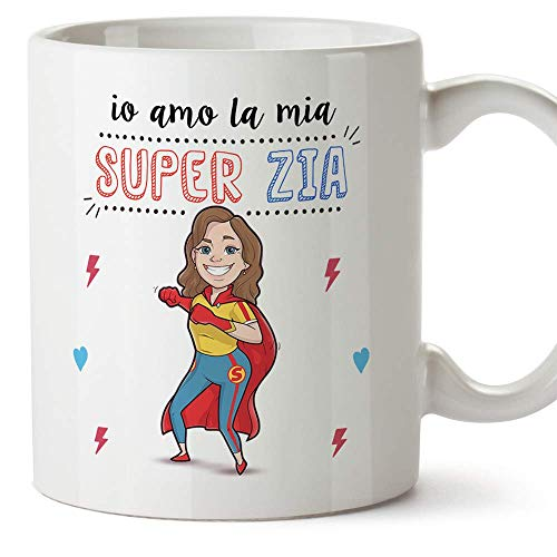 Mugffins Zia TazzaMug  Io Amo la mia Super Zia  Idea Regalo Originale di Compleanno  Tazza Migliore Zia in Ceramica 350 ml
