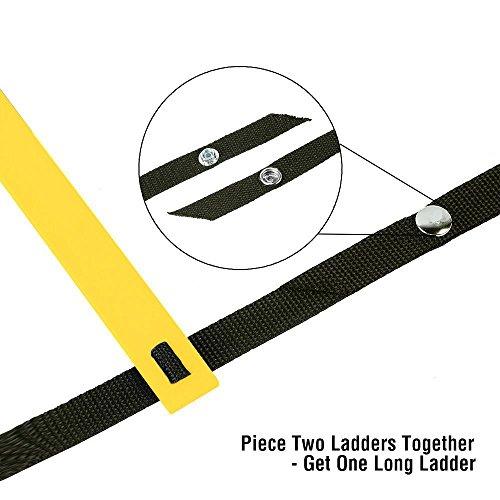Ohuhu 46M Scala Agilit Ladder Salto Lattice per Esercizio Allenamento Calcio 12 Piolo Giallo