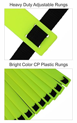 PEPUP Premium Super Flat Adjustable Scala Addestramento di velocit E Agilit UnisexAdulto Yellow Fluorescent 8 m