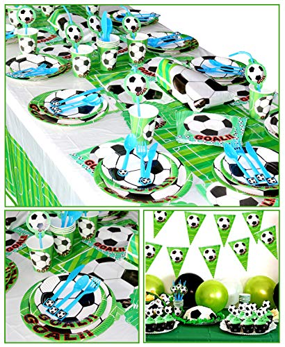PIXHOTUL Set per Feste di Calcio per 12 Ospiti Compreso Piatti Tazze Tovaglioli Cucchiai Coltelli Forchette Biglietti Dinvito Tovaglia Bandiera Sacchetti Regalo e Palloncini 168 Pezzi