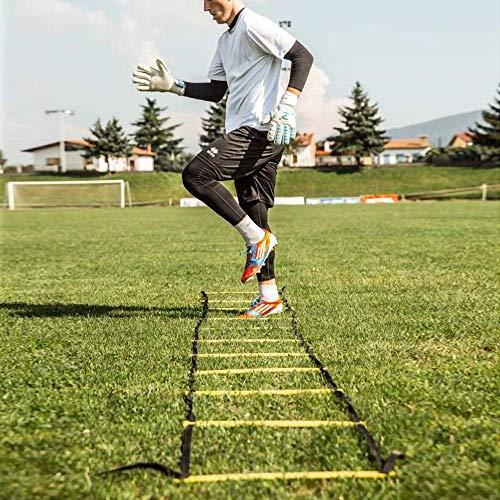 POWER GUIDANCE Scala Agilit Scaletta Per Allenamento Calcio Esercizio Velocit Fitness 6M con 12 Plastica Piolos Picchetti di Terra Borsa per il Trasporto e 10 Coni Sportivi giallo